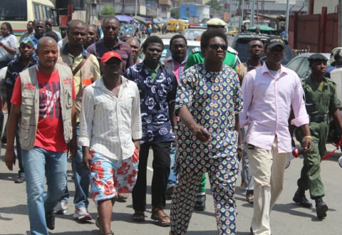 The Executive Chairman, Amuwo Odofin LG, Comrade Ayodele Adewale (2nd R), leading a peaceful  protest over the unlawful arrest and detention of Amuwo Odofin LG Council officials at Apapa Magistrate Court, Aerodrome Road, Apapa, Lagos.