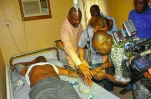 Sen Abe Magnus receives treatment after the shooting incident at Sunday's  Political Rally in Port Harcourt