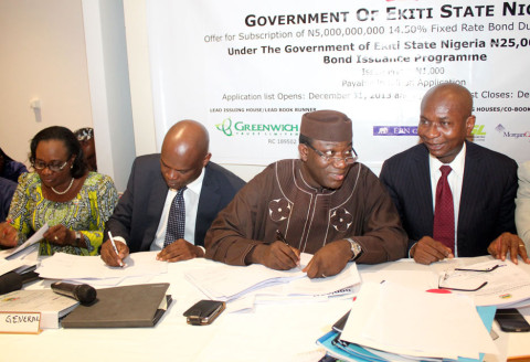 L-R: Ekiti State Deputy Governor, Prof. Modupe Adelabu;  Attorney General and Commissiner for Justice, Wale Fapounda; Governor Kayode Fayemi; and Managing Director Greenwich Trust Ltd, Mr. Kayode Falowo, during the Completion Meeting for the Tranche II, of the Twenty Five Billion Naira (25, 000, 000, 000) Ekiti State Bond, in Lagos... on Tuesday.