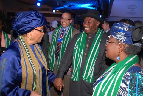 From left Liberia President Hellen Salif  President Goodluck Jonathan and Finance Minister Dr, Ngozi Okojo Iweala  at the World Economic  Forum in Davos, Switzerland