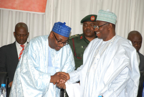 President Goodluck Jonathan Congratulating the Newly Nominated National Chairman of the People Democratic PDP Alh Adamu Muazu at the 64th National Executive Committee meeting at the PDP National  Headquarters Abuja