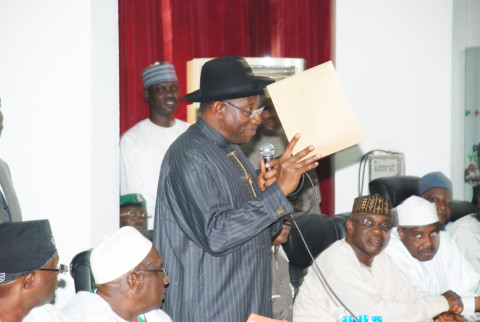 Jonathan Announces Bamanga Tukur's  Resignation Letter  at PDP NEC Meeting