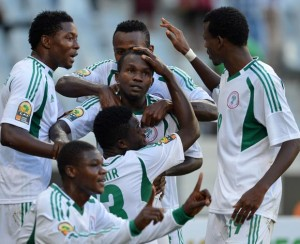 Super Eagles of Nigeria Celebrate one of their goals against Morocco