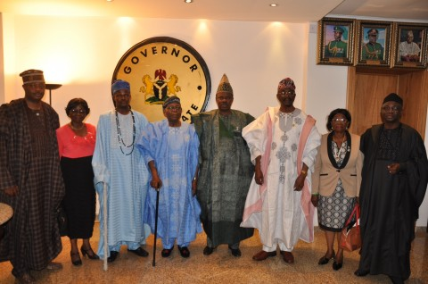 Ogun State Governor, Senator Ibikunle Amosun (4th right) flanked by the state's delegates to the National Conference, including Chief Olaniwun Ajayi (4th left); Senator Olabiyi Durojaiye (3rd right) Olu of Ilaro and Paramount Ruler of Yewaland, Oba Kehinde Olugbenle (3rd left), Representative of the South West Senator's Forum, Senator Iyabo Anisulowo (2nd right), Prof. (Mrs.) Titi Filani ( 2nd left), Pastor Tunde Bakare (right) and Barrister Bisi Adegbuyi (left)