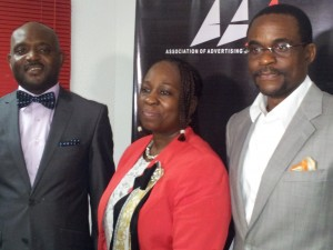 The Publicity Secretary of Association of Advertising Agencies of Nigeria (AAAN), Dr. Celey Okogun; AAAN President, Mrs. Bunmi Oke, and AAAN Vice President, Mr. Kelechi Nwosu, during a press briefing at the AAAN Secretariat in Lagos.
