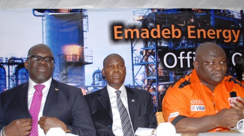 The Divisional Head, Corporate Banking of First City Monument Bank (FCMB) Limited, Mr. Ola Olabinjo; the Managing Director of Skye Bank Plc, Mr. Kehinde Durosinmi-Etti and the Managing Director of Emadeb Energy Services Limited, Mr. Adebowale Olujimi, at the commission of the oil depot of the company on Thursday, February 27, 2014. The project was funded by FCMB.