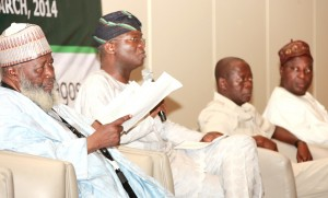 Lagos State Governor, Mr. Babatunde Fashola SAN (2nd left), his Edo State counterpart, Comrade Adams Oshiomhole (2nd right), Deputy Governor of Ogun State, Prince Segun Adesegun (right) and the Chairman of the Session, Justice Muhammed Mustapha  Akanbi  (left) during the 3rd Nigeria Governors' Forum (NGF) Retreat held at the Eko Hotel & Suites, Victoria Island, Lagos, on Friday, March 14, 2014.