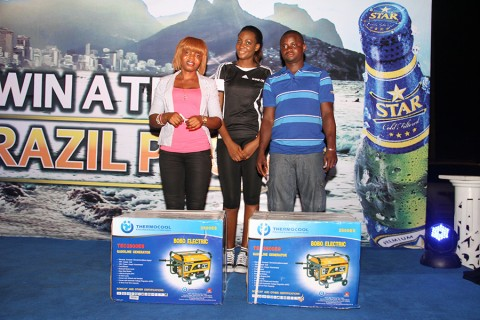 Winners of generating set at the Star Trip To Brazil promo, held at the Cyclic Centre, Costain Roundabout, Lagos