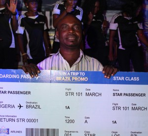 Timothy Victor, winner of the grand prize of Ticket to Brazil, set at the Star Trip To Brazil promo, held at the Cyclic Centre, Costain Roundabout, Lagos