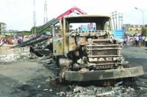 The burnt tanker