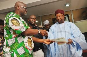 Fayose Picks up PDP Nomination Form In Abuja