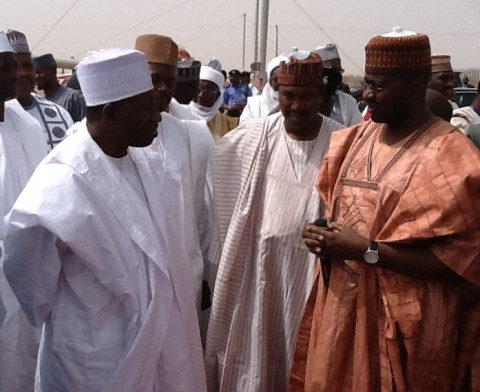 Honourable Minister of State for Power,Mohammed Wakil briefing President Goodluck Jonathan at the katsina Wind farm electricity project ,located at Lamba Rimi,Katsina state on March 12th ,2014.