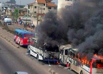 Burnt BRT Buses