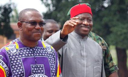 Ex-Gov. Peter Obi (L) and President Goodluck Jonathan