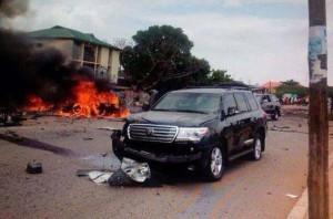 Buhari's damaged car