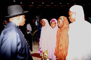 President Jonathan meets with Parents of Abducted Chibok Girls