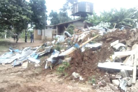 The demolished Kidnappers' den