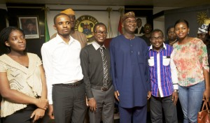 Picture: Lagos State Governor, Mr. Babatunde Fashola, SAN (3rd right) in a group photograph with the survivors of the Ebola Virus Disease – Dr Emenuo Kelechi (2nd left),  Dr Ibeawuchi Morris (3rd left), Dr Fadipe Akinniyi (4th left), Mr. Dennis Akagha (3rd right) and Dr Adaora Igonoh (2nd right) during a visit to the Governor at the Lagos House, Ikeja, on Thursday, September 18, 2014.
