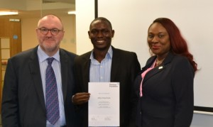From Left to Right: Chief Executive , Thomson Foundation, Nigel Baker,  Punch Correspondent and Overall  Winner of the  2014 Promasidor Quill Awards, Mr Kunle Falayi and  Manager, Corporate Communications, Promasidor Nigeria Limited, Ms Ebi Akpeti at the graduation ceremony of Mr Falayi from the Thompson Foundation  2014 summer course in London sponsored by Promasidor Nigeria Limited on Friday