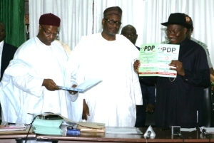 President Jonathan displays PDP presidential form