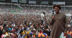 Governor addressing his supporters during the port harcourt rally to celebrate 7  years of his administration in the state.