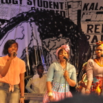 Guest artiste, Simi (left) and her back up performing at the vibes.