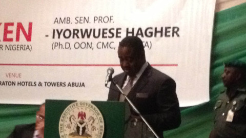 """Governor of Benue state, Dr. Gabriel Suswam speaking at the launching of the book tittle """"Diverse but not broken"""""""
