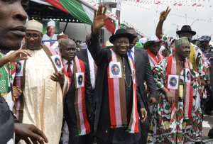 President Goodluck Jonathan and other PDP stalwarts at the President's Declaration