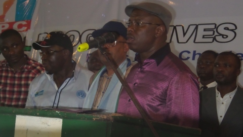 Dr Peterside delivers his acceptance speech after being elected the Rivers APC Guber candidate