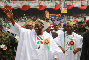 President Goodluck Jonathan and his Vice Arc. Namadi Sambo  at the Flag off at the Tafawa Balewa Square  in Lagos on Thursday January 7, 2015