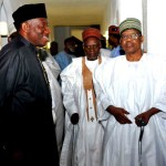 FROM LEFT: PRESIDENT GOODLUCK JONATHAN; FORMER PRESIDENT SHEHU SHAGARIAND FORMER PRESIDENT  IBRAHIM BABANGIDA AFTER THE NATIONAL COUNCIL OF STATE MEETING IN ABUJA ON THURSDAY (5/2/15).