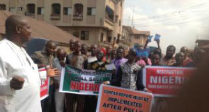 Igbo youths demonstrate in Enugu on the need to restructure Nigeria