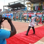 Dr. Dakuku Peterside, APC standard bearer in Rivers State,  responding to cheers from supporters during the South-South Zonal Rally at  Liberation Stadium, Elekahia in Port Harcourt