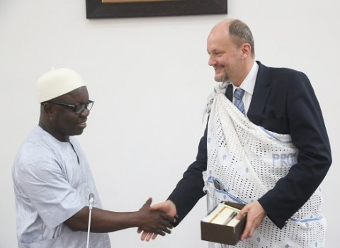 Delta State Governor, Dr. Emmanuel Uduaghan (left), with Ambassador. Michel Arrion, European Union Ambassador to Nigeria and ECOWAS, when the Ambassador paid the Governor a courtesy visit, Tuesday.