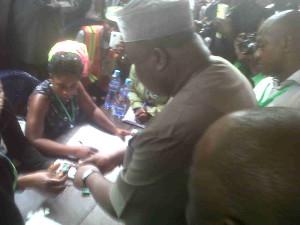Enugu PDP Guber candidate Hon. Ifeanyi Ugwuanyi being accredited