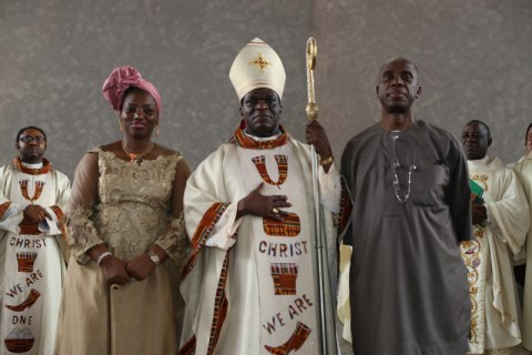 Rivers State Governor Rt. Hon. Chibuike Rotimi Amaechi, catholic bishop of Port Harcourt Bishop Camillus Etukudoh and the wife of the Governor, Judith, at the Thanksgiving service to commemorate the 50th birthday of the Governor at Corpus Christi Catholic Church in Port Harcourt, Wednesday.