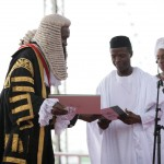 GOODLUCK, OSINBAJO RECEIVING A SIGNED ONSTITUTION FROM CHIEF JUSTICE