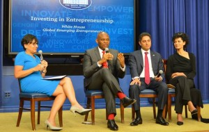 (L-R) Penny Pritzker, US Commerce Secretary, Tony Elumelu, Founder, Tony Elumelu Foundation, Antonio Gracias, Founder and CEO, Valor Equity and Julie Hanna, Founder and CEO, Kiva during the  event hosted by US President Barack Obama at the White House on Monday to celebrate Global Emerging Entrepreneurs