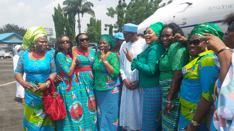 President Buhari shy around women.