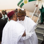 PIC 2. PRESIDENT ISSOUFUO MAHAMDOU OF NIGER REPUBLIC WELCOMING PRESIDENT MUHAMMADU BUHARI AT THE NIAMEY INTERNATIONAL AIRPORT NIGER REPUBLIC ON WEDNESDAY (3/6/15)