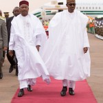 PIC 6. PRESIDENT MUHAMMADU BUHARI (R) WITH PRESIDENT  MAHAMADOU ISSOUFUO OF NIGER REPUBLIC DURING THE ARRIVAL OF PRESIDENT BUHARI AT THE NIAMEY INETRNATIONAL AIRPORT ON WEDNESDAY (3/6/15) 0006/JUNE2015/BAYO/CALLISTUS/SH