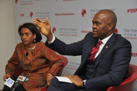 Founder, The Tony Elumelu Foundation and Chairman, Heirs Holdings Limited, Mr. Tony O. Elumelu, CON;  CEO, Tony Elumelu Foundation, Parminder Vir; during the press conference held in Lagos on Wednesday, announcing the entrepreneurship boot camp for the 1,000 selected Tony Elumelu Entrepreneurs representing all 36 Nigerian states and 51 African countries scheduled for July 10-12 in Ota, Ogun State.