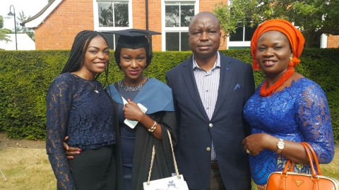 Senator Ayogu Eze and wife Nkechi, his daughter Lotachukwu and friend during graduation