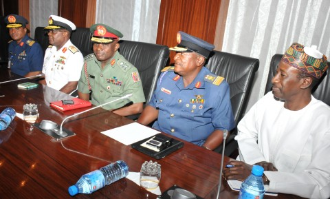 PIC FROM LEFT: CHIEF OF AIR STAFF, AIR-VICE MARSHAL SADIQUE ABUBAKAR; CHIEF OF NAVAL STAFF, REAR ADMIRAL IBOK-ETE EKWE IBA; CHIEF OF ARMY STAFF, MAJ.-GEN ABAYOMI OLONISAKIN;  CHIEF OF DEFENCE INTELLIGENCE, AIR VICE MARSHAL MORGAN RIKU AND THE NATIONAL SECURITY ADVISER, (NSA) MAJ.-GEN BABAGANA MONGUNU (RTD) DURING THEIR MEETING WITH PRESIDENT MUHAMMADU BUHARI AT THE PRESIDENTIAL VILLA ABUJA IN ABUJA ON MONDAY (13/7/15)