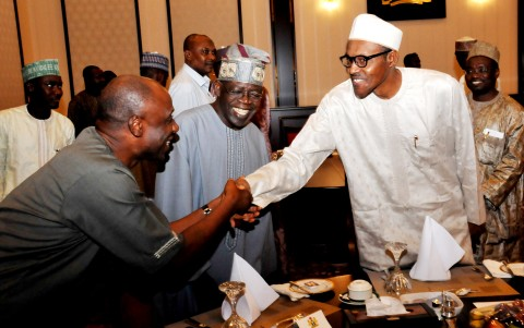 FROM LEFT: FORMER GOVERNOR OF RIVERS STATE / APC CAMPAIGN DIRECTOR-GENERAL, CHIBUIKE AMAECHI; APC LEADER, ASIWAJU BOLA TINUBU AND PRESIDENT MUHAMMADU BUHARI DURING BREAKING OF FAST AT THE PRESIDENTIAL VILLA ABUJA ON TUESDAY (14/7/15) 5361/14/7/2015/ICE/NAN