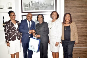 At the Women Group of Lagos Chamber of Commerce and Industry (LCCI) Business Visit to FirstBank: (L-R): Mrs. Cecilia Majekodunmi, Group Executive, Commercial Banking, FirstBank; Mr. Francis Ikenga, Chief Strategy Officer, FirstBank; Yeye Hon. (Mrs) Agnes Shobajo, Chairperson, Women Group of LCCI; Mrs. Bashirat Odunewu, Group Executive, Institutional Banking Group, FirstBank; and Mrs. Dele Ogunjobi, Secretary, Women Group of LCCI.