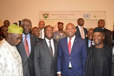 Former presidents of Nigeria and Ghana Olusegun Obasanjo; John Kufuor; President of Cote D'Ivoire Alassane Ouattara, Co-Chair of the Africa Energy Leaders Group (AELG); Tony O. Elumelu, Chairman of Heirs Holdings and Co-Chair of the AELG); Vice President of Nigeria Yemi Osinbajo during the inaugural meeting of the AELG held in Abidjan yesterday to discuss regional solutions to the electricity deficit in Africa.