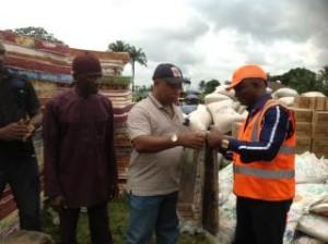 NEMA relief material being distributed in Eha Amufu, Enugu state