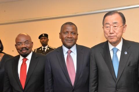 DSC 7747: from left, Mr Jim Ovia, Chairman of Zenith Bank, Aliko Dangote, President/CE, Dangote Group, and Ban Ki Moon, UN Secretary General