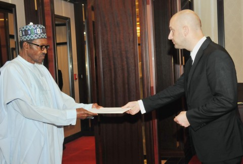 PIC 1. PRESIDENT MUHAMMADU  BUHARI  (L) RECEIVING LETTER OF CREDENCE FROM THE AMBASSADOR-  DESIGNATE OF POLAND TO NIGERIA, MR  ANDREZJ DYCHA AT THE PRESIDENTIAL VILLA ABUJA ON THURSDAY   (6/8/15)/ICE